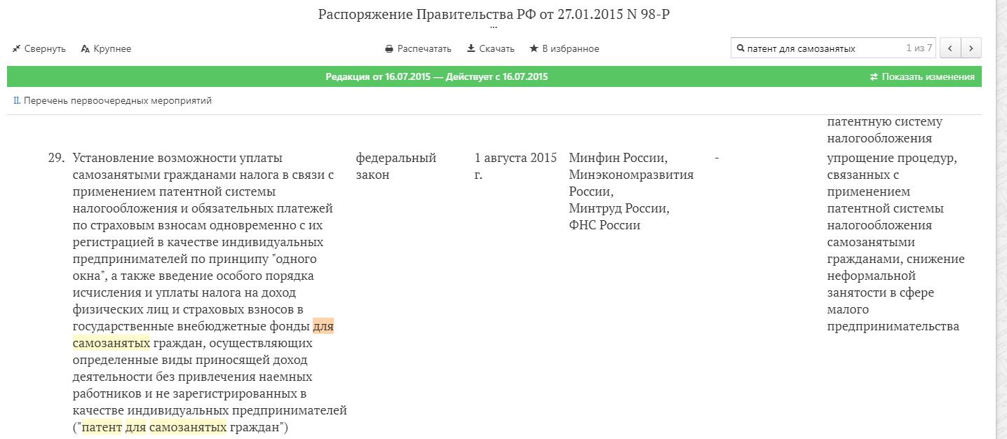 Скан распоряжения правительства РФ от 27.01.15 №98-9