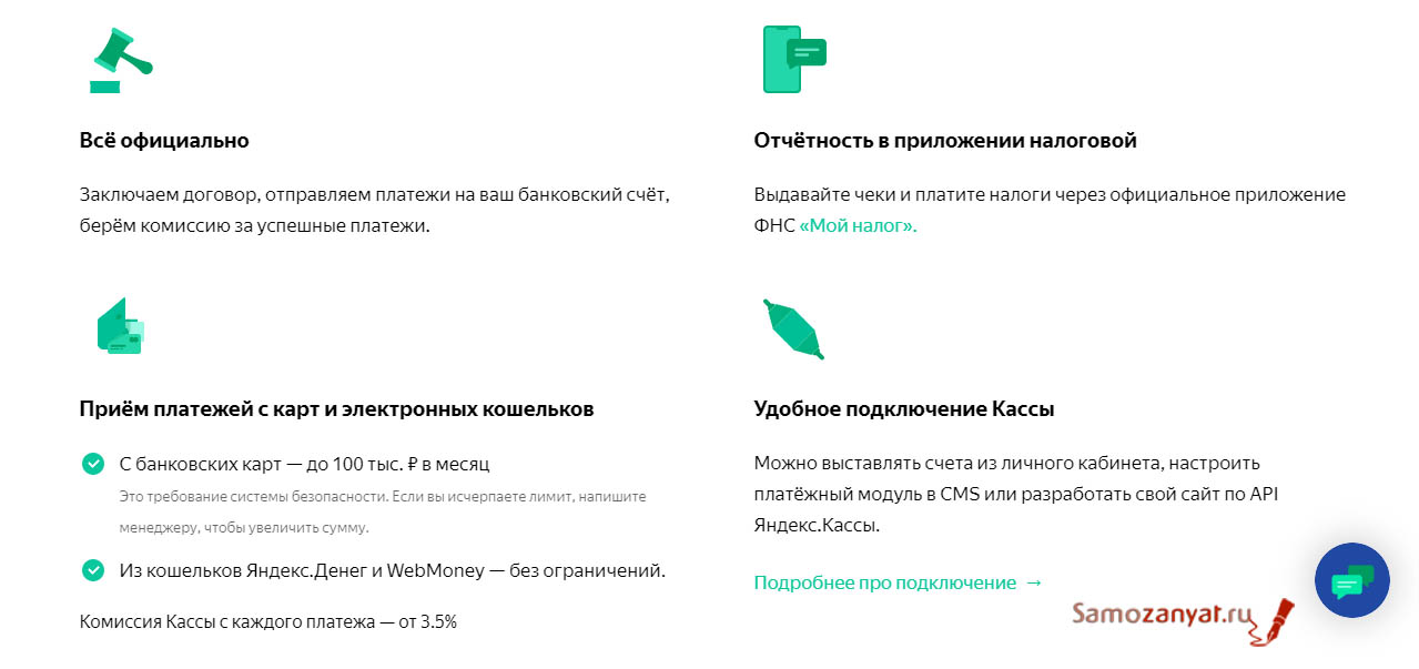 Услуги от Яндекс кассы для самозанятых
